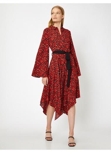 Koton Koton Leopar Desen Kırmızı Elbise Kırmızı